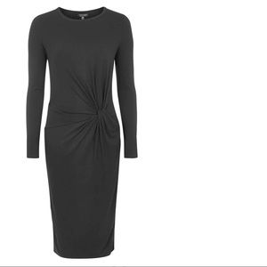 TOPSHOP knotted black knit dress w long sleeves